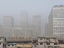 阴霾被放置在北京CBD 库存图片