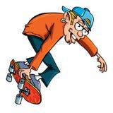 青少年动画片的溜冰者 皇族释放例证