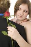 青少年可爱的夫妇的跳舞 库存图片