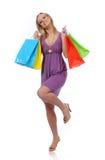 青少年女孩喜悦跳的购物 库存照片