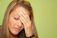 青少年女孩的痛苦 免版税图库摄影