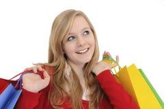 青少年女孩的购物 图库摄影