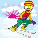 青少年快速的滑雪 图库摄影