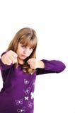 青少年战斗的女孩 免版税库存图片