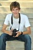 青少年摄影师的纵向 免版税库存图片