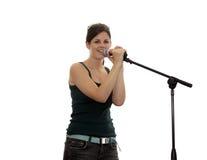 青少年查出的歌唱家 免版税库存照片