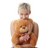 青少年熊女孩低劣的女用连杉衬裤 库存照片