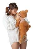 青少年熊的女用连杉衬裤 免版税库存图片