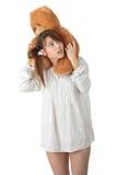 青少年熊的女用连杉衬裤 免版税库存照片