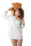 青少年熊的女用连杉衬裤 库存图片