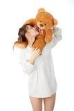 青少年熊的女用连杉衬裤 图库摄影