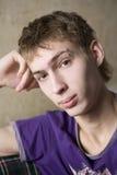 青少年男孩沉思的纵向 免版税库存图片