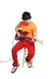 青少年男孩的吉他 免版税库存照片