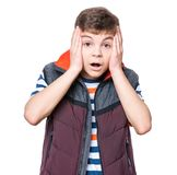 青少年男孩的纵向 免版税图库摄影