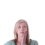 青少年白肤金发的女孩的纵向 免版税库存照片