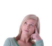 青少年白肤金发的女孩的纵向 库存图片