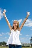 青少年白肤金发的自由 库存照片
