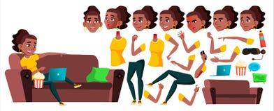 青少年的女孩传染媒介 投反对票 美国黑人 动画创作集合 面孔情感,姿态 秀丽,生活方式 茴香酒 向量例证