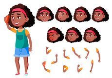 青少年的女孩传染媒介 投反对票 美国黑人 少年 逗人喜爱,可笑 喜悦 面孔情感,各种各样的姿态 动画创作 皇族释放例证