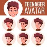 青少年的女孩具体化集合传染媒介 面对情感 学校学生 动画片顶头例证 皇族释放例证