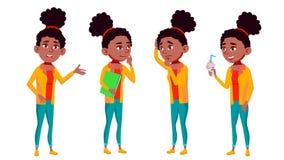 青少年的女孩姿势被设置的传染媒介 乐趣,快乐 投反对票 美国黑人 对网,海报,小册子设计 被隔绝的动画片 库存例证