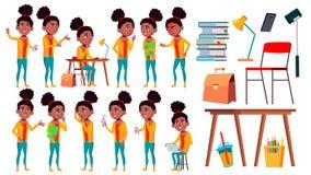青少年的女孩姿势被设置的传染媒介 休闲,微笑 投反对票 美国黑人 对网,小册子,海报设计 被隔绝的动画片 库存例证