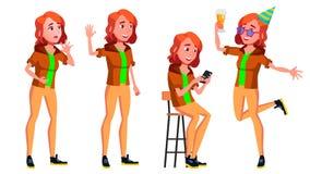 青少年的女孩姿势被设置的传染媒介 友好,欢呼 对横幅,飞行物,小册子设计 被隔绝的动画片例证 库存例证