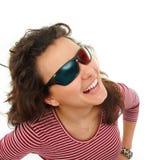 青少年的女孩满意对3d玻璃 图库摄影
