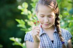青少年的女孩秀丽,自然莓果 库存图片