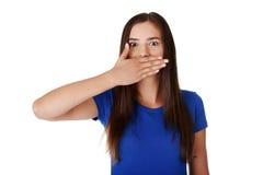 青少年的妇女覆盖物嘴用现有量 库存照片