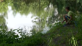 青少年的孩子捉住在池塘的一根钓鱼竿 影视素材
