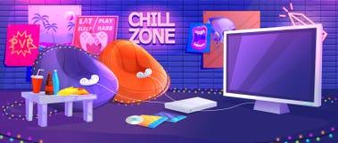 青少年的游戏厅内部 在控制台的戏剧电子游戏有舒适的扶手椅子和快餐的游戏玩家的 皇族释放例证