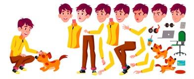 青少年的男孩传染媒介 动画创作集合 面孔情感,姿态 激活,表示 茴香酒 对横幅,飞行物 向量例证