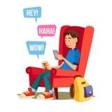 青少年的男孩传染媒介 愉快的男孩在互联网上沟通 使用Smartphone 隔绝在白色漫画人物例证 库存例证