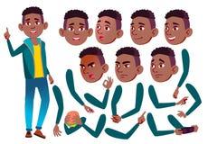 青少年的男孩传染媒介 投反对票 美国黑人 少年 休闲,微笑 面孔情感,各种各样的姿态 动画创作集合 库存例证