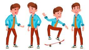 青少年的男孩姿势被设置的传染媒介 白种人,正面 对介绍,印刷品,邀请设计 被隔绝的动画片 向量例证