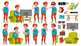 青少年的男孩姿势被设置的传染媒介 顶头红色 肥胖游戏玩家 乐趣,快乐 对网,海报,小册子设计 被隔绝的动画片 库存例证