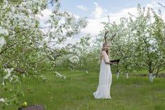 青少年的美丽的白肤金发的有鹿垫铁的o女孩佩带的白色礼服 免版税库存照片