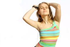青少年的跳舞mp3 免版税库存照片