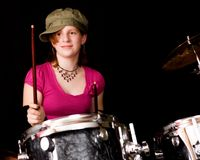 青少年的drumer 免版税库存照片