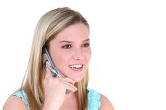 青少年美丽的移动电话的女孩 库存照片
