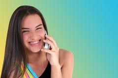 青少年美丽的移动电话 免版税库存照片
