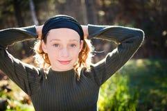 青少年美丽的纵向 免版税库存图片
