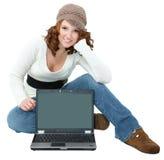 青少年美丽的膝上型计算机 库存照片