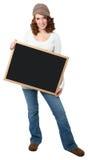 青少年美丽的黑板的女孩 图库摄影