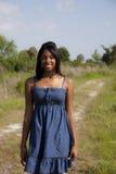 青少年非洲裔美国人的乡下公路 免版税库存图片