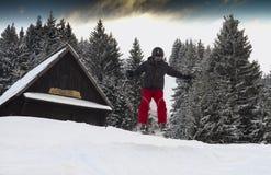 青少年在阿尔卑斯享受在树之间的自由样式滑雪 免版税库存照片
