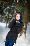 青少年在雪 免版税图库摄影