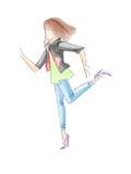 青少年女孩剪影剪影水彩和高跟鞋的画的牛仔裤 库存图片