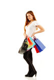 青少年女孩的购物 免版税库存图片